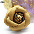 JINSE Leather Camellia Flower Classic DIY Jewelry Accessory For Pin Brooch Shoes Headband Hair Clip Girl DressesDecoration SCH01