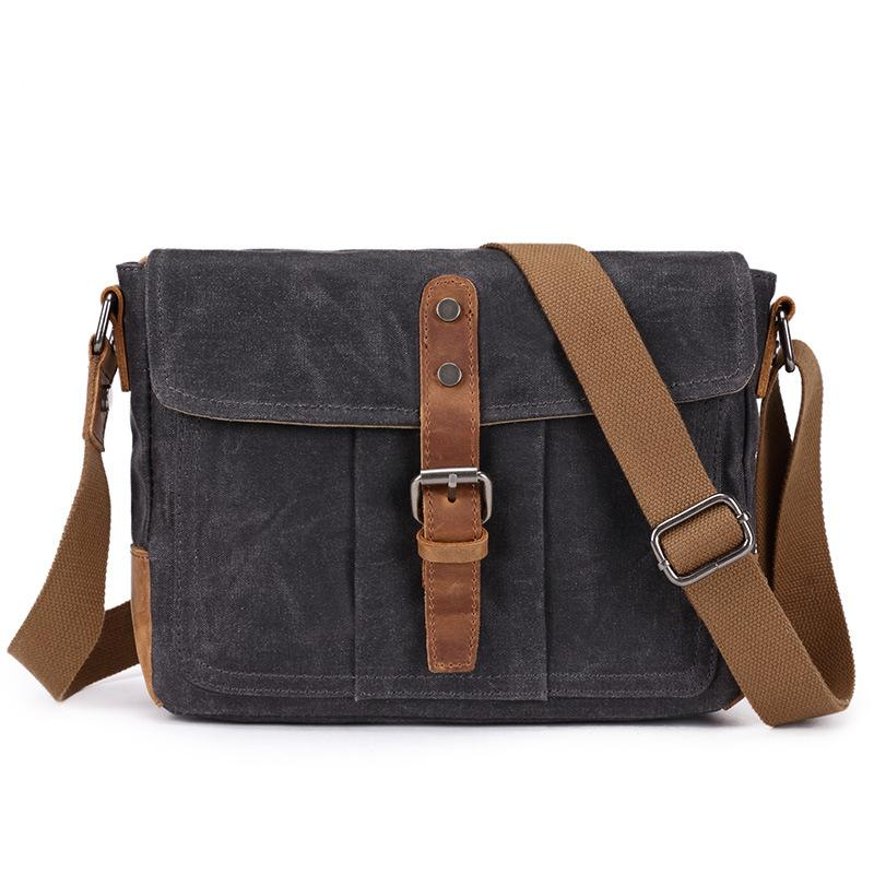 YUPINXUAN Europe Vintage Waterproof Canvas Shoulder Bags for Men Oil Wax Canvas Leather Crossbody Bag Designer Man Bag Retro yupinxuan mens vintage oil wax canvas leather shoulder bags shockproof dslr camera bag waterproof canvas crossbody bags russian