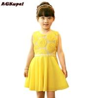 Retail New 2015 summer girls chiffon dresses children's clothing Sunflower baby girl dress princess tutu dress vestidos infantil