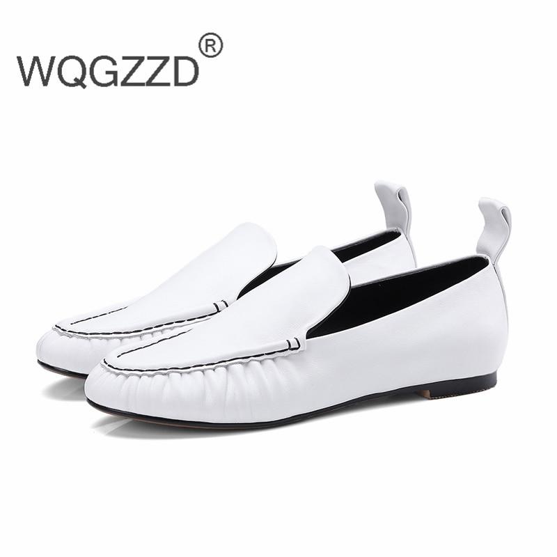 Confortable Femme Femmes white Mocassins Paresseux Mujer Casual Plates Cuir Doux Véritable En Black Chaussures Zapatos pqdF8xngq