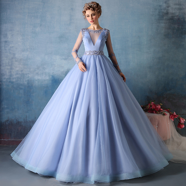 Fashion Sky Blue Prom Dress Sheer Long Sleeve Prom Dresses Ball Gown ...