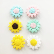 Chenkai 50PCS BPA Free Silicone Sunflower Pacifier Teether Beads DIY Baby Shower Nursing Jewelry Sensory Toy Accessories
