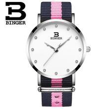 Binger Sport Watches Luxurious Model Nylon Strap Girl Military Navy Wristwatches Clock Feminine Quartz Watch Relogio Masculino