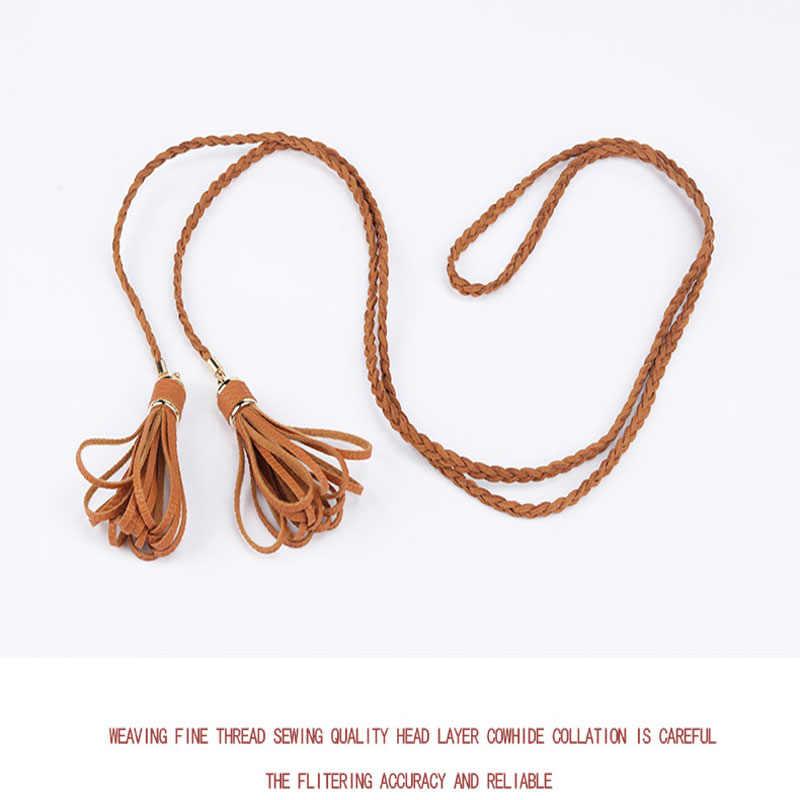 ... Helisopus Woven Waist Belt Women Knotted Decorative Dress Waist Chain  Pendant Tassel Fashion Solid Color PU ... 9637103eab