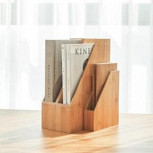 Desktop Bamboe Hout Bestand Opbergdoos Document Boeken Tijdschrift Houder Sorter Office Home Desk Hanger Bestand Mand Plank Organisator