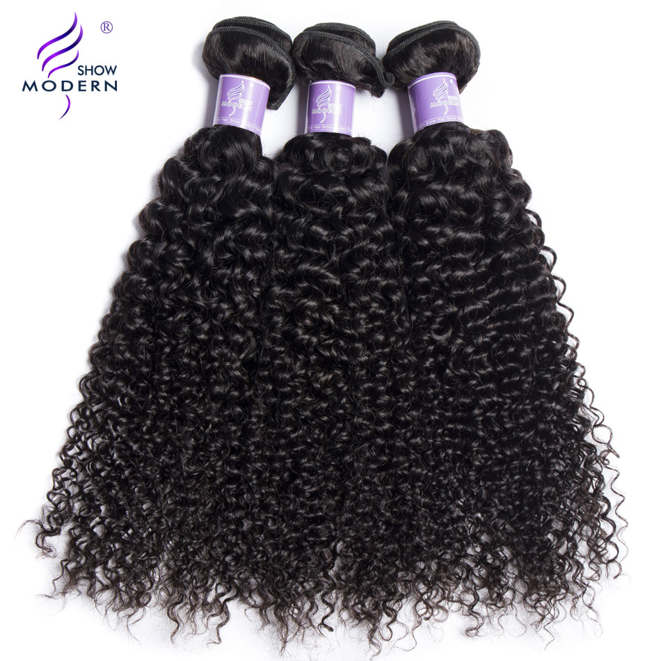 Modern Show Hair Peruvian Hair Weave Bundles 3 4 Bundles With 4*4 Lace Closure Kinky Curly Non Remy 100% Human Hair Extensions