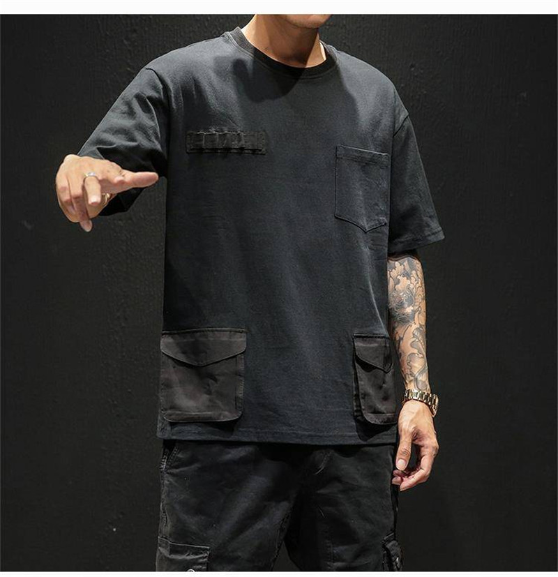 Hip Hop T-shirts Men With pockets Harajuku Oversized Tops Tee Japan Tshirt Streetwear Casual Solid High Street T Shirts Boy 47