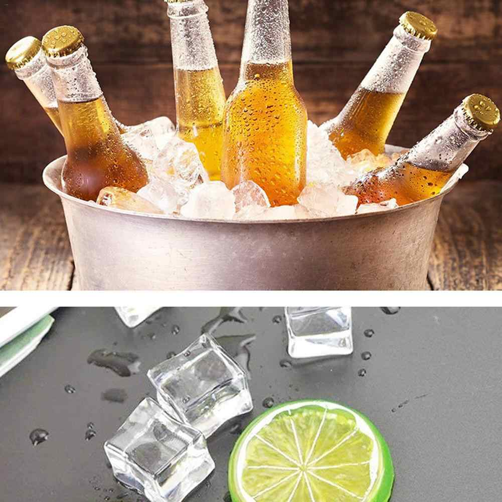 100pcs Acrylic Ice Cubes Square Shape Glass Luster Fake Artificial Acrylic Ice Cubes Crystal Clear For Photography Props