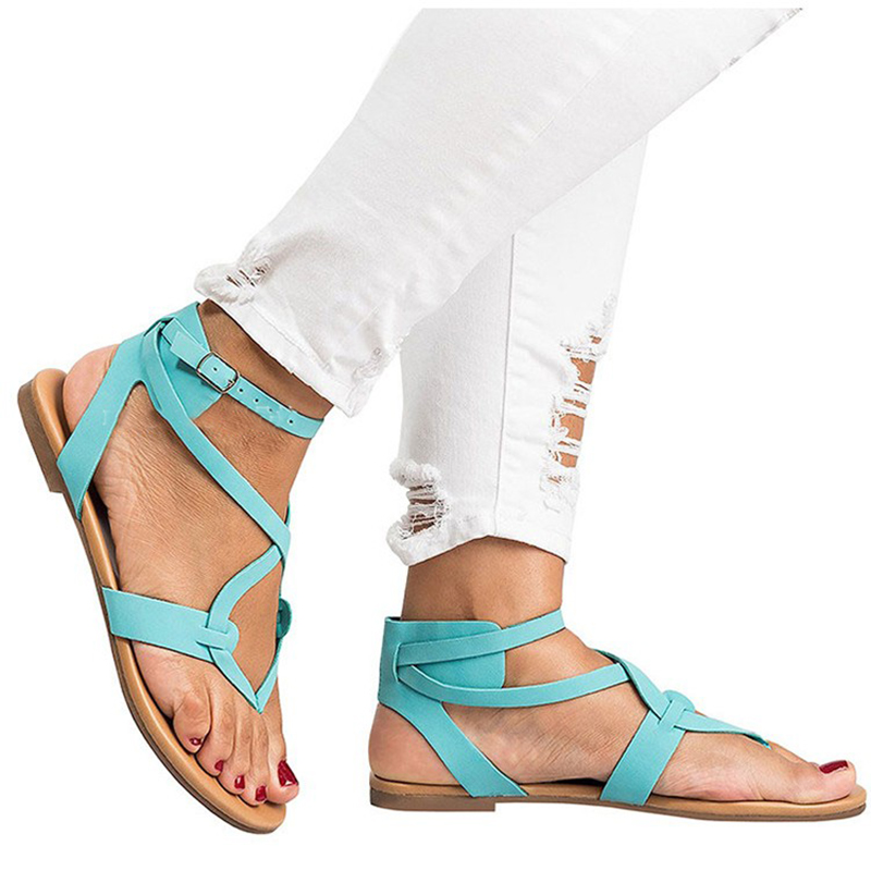 Sandals Women Summer Shoes Peep Toe Gladiator Casual Women Flat Heel Sandals Fashion Ankle Buckle Strap Ladies beach Shoes fashion summer shoes metallic leather pompom caged ankle strap sandals peep toe cut outs spike heel gladiator sandals miquinha