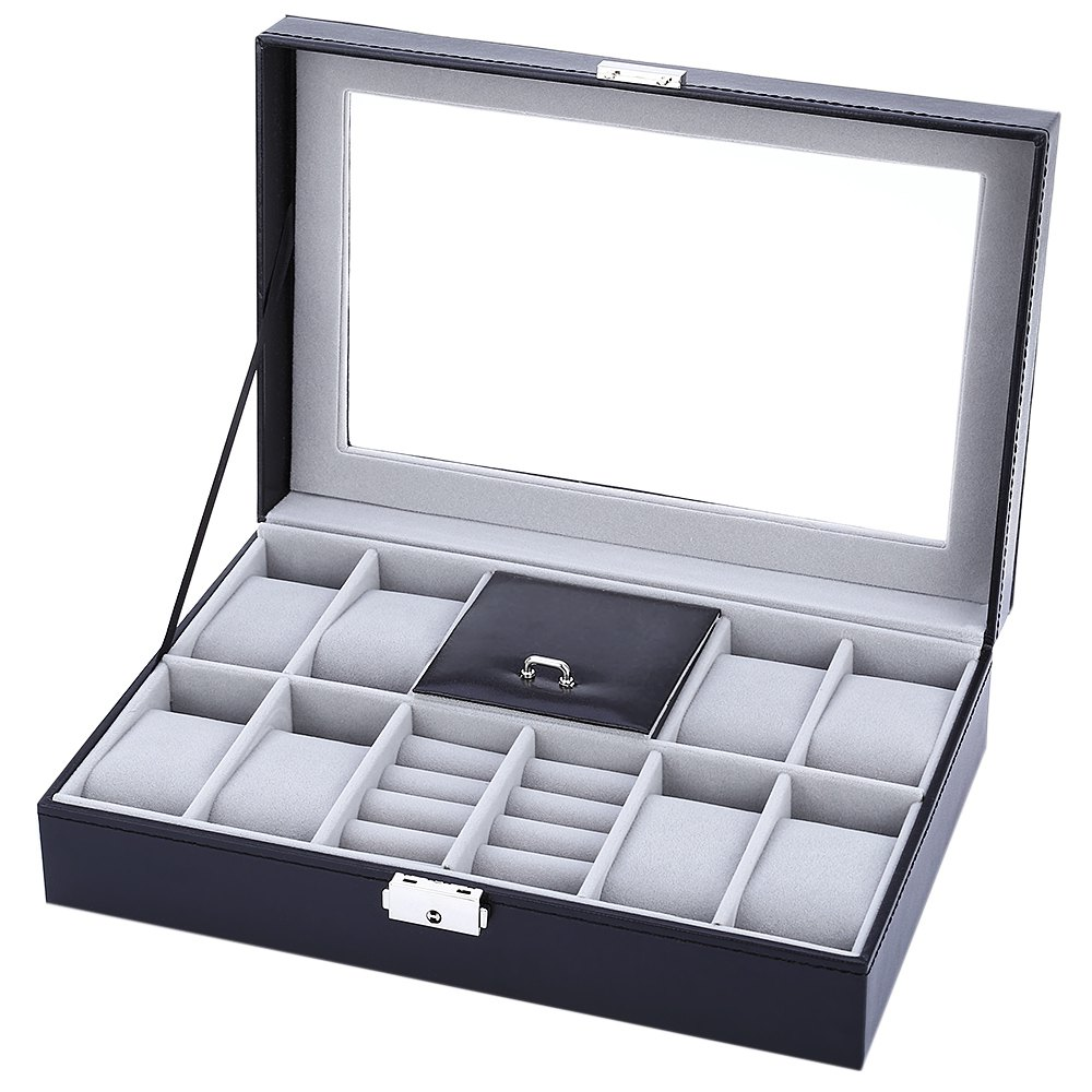 Black 8 Grids with 3 Mixed Grids Watch Case PVC Leather Jewelry Storage Display Box Watch Gift caixa para relogio