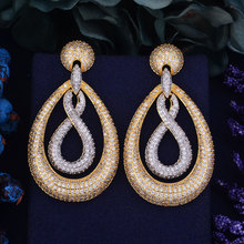 GODKI F 65mm Oversize Luxury Popular Waterdrop Infinity Full Mirco Paved Cubic Zirconia Wedding Earring Fashion Jewelry