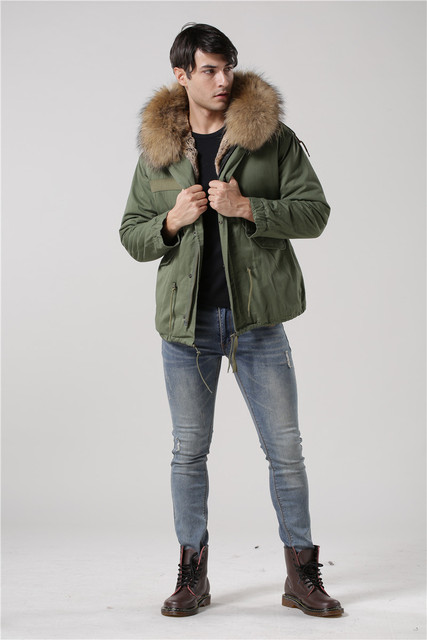 Italy male real raccoon fur collar jacket Mr Mrs fur lined short parka with faux rabbit fur winter male coats