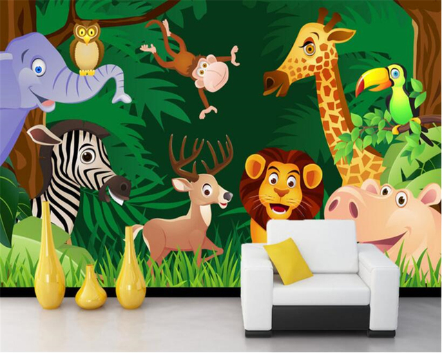 Beibehang Custom Wallpaper Cartoon Forest Animal Lion Elephant Giraffe Hippo Monkey Child Room Home Decoration