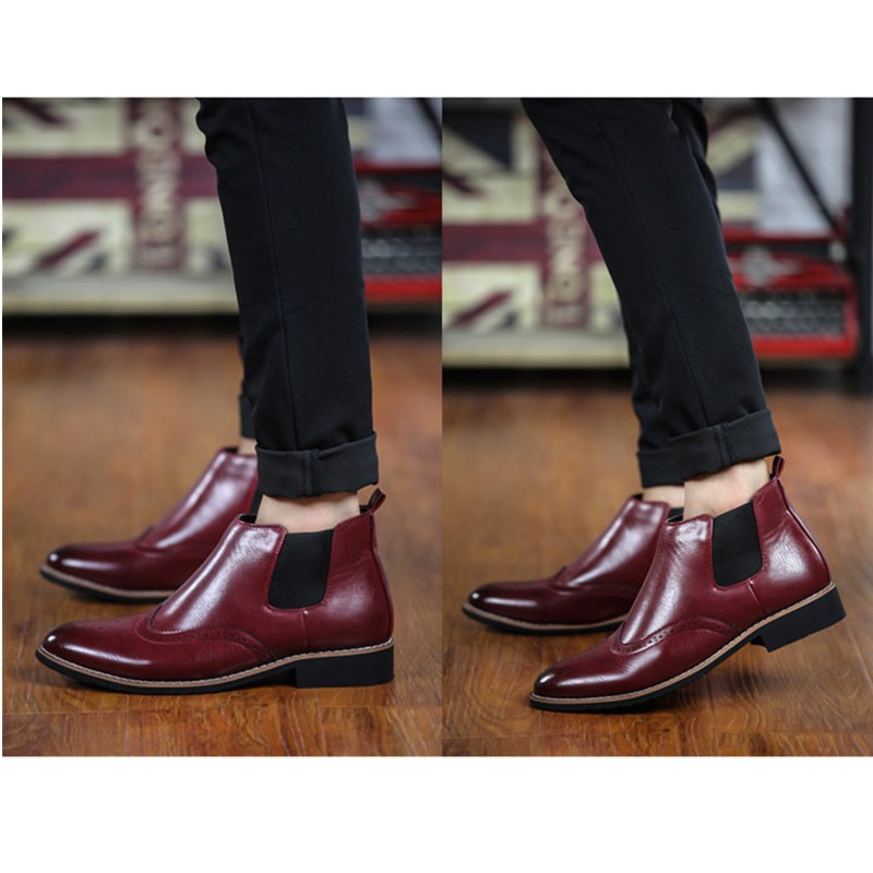 LOVE Spring Autumn Men\'s Chelsea Boots Casual Round Toe Brogue Leather Boots For Men Ankle Boots Square Heel Dress Shoes F107 (5)