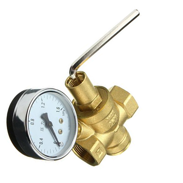 Brass DN20 3/4 Water Pressure Regulator Valves With Pressure Gauge Pressure Maintaining Valve Water Pressure Reducing Valve high pressure freon pressure gauge working together with charging valve check valve to monitor the system leakage changes