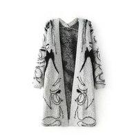 Cardigan Women 2015 Casual Gray Jacquard Pattern Beautiful Women Crochet Knitted Blouse Tops Women Long Sweaters