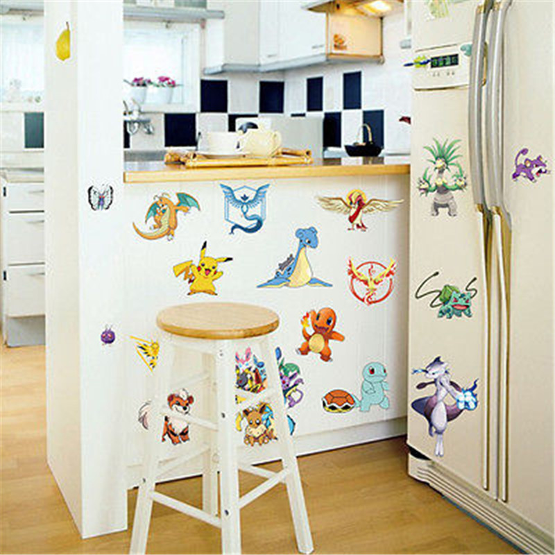 Cartoon Go Decals Pocket Monster Wall Stickers Kids Rooms