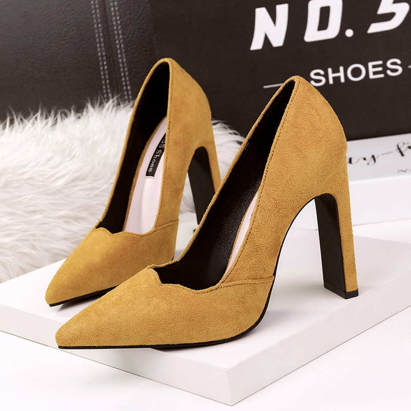 07379cca1085 Pointed Toe Block Heels Sexy Pumps Women Shoes 2019 Shallow Mouth Flock High  Heel Shoes Woman