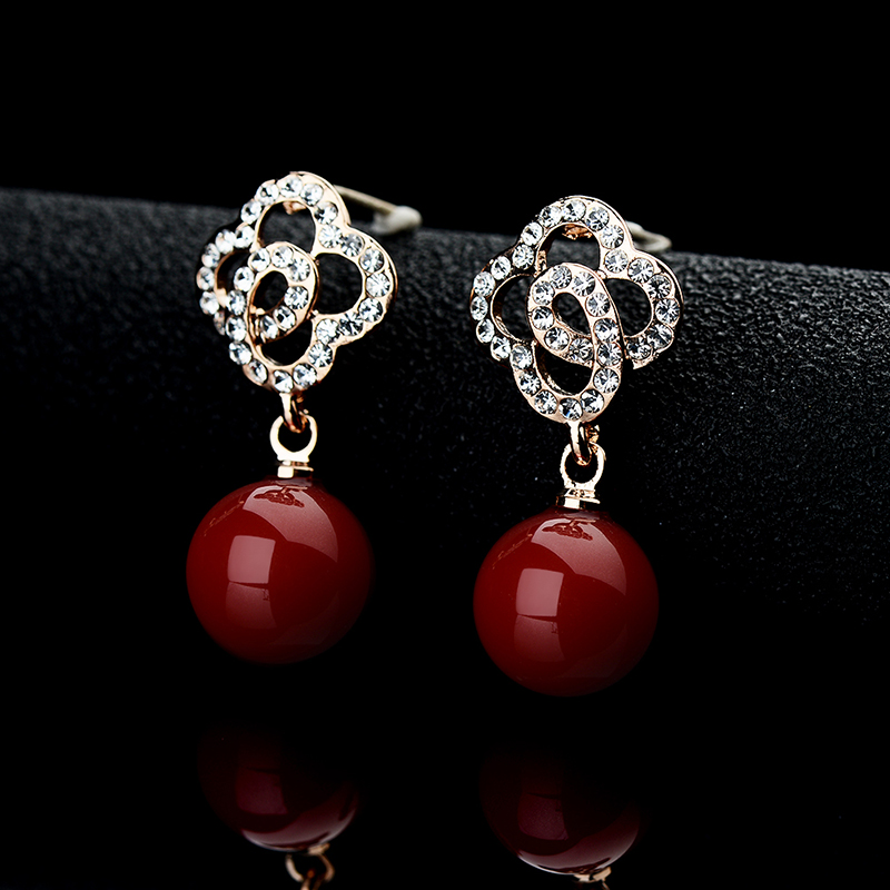 Fashion Earrings Round Ball Red Artificial Coral Rose Gold Color Crystal Rhinestone Hollow Flowers Drop Erring Women