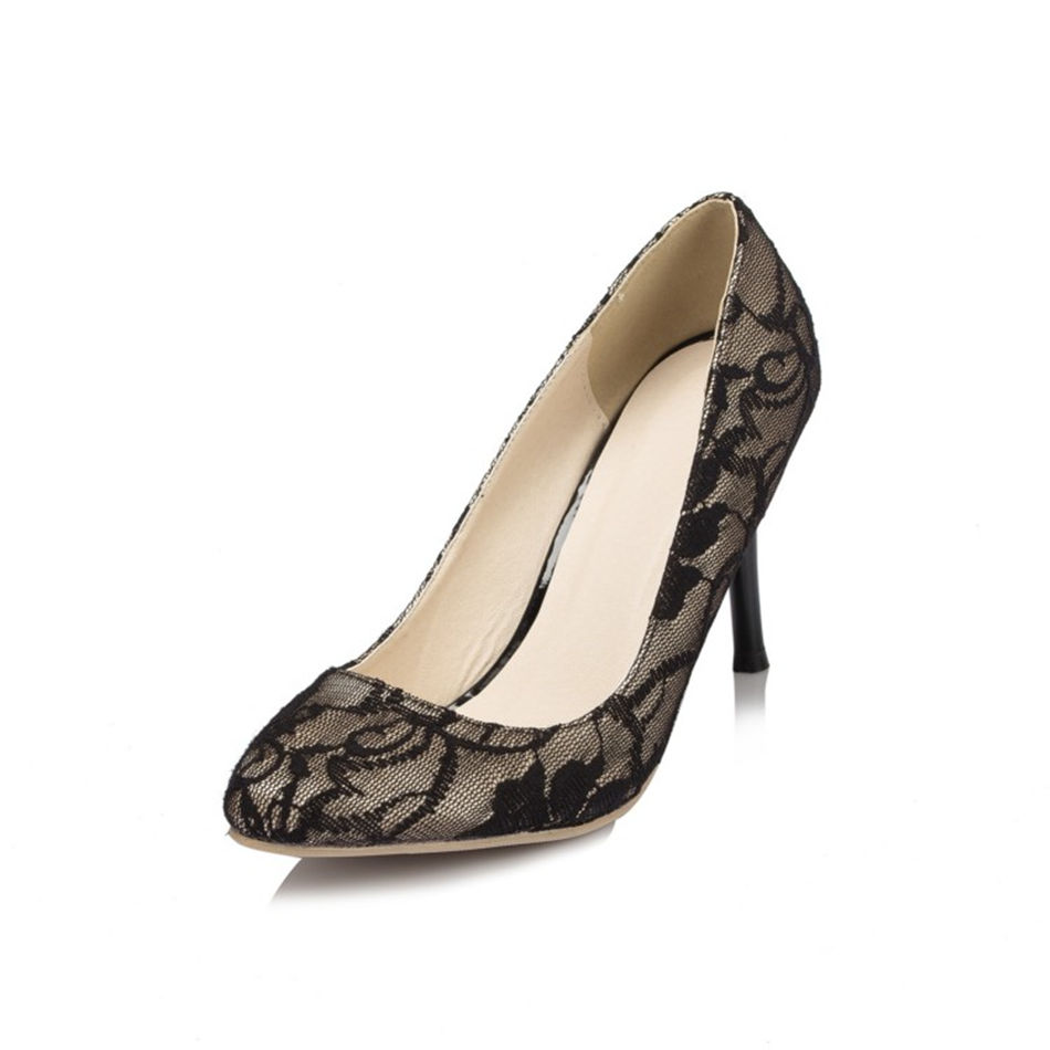 ФОТО New Arrival Pointed Toe Black Lace Women's High Heels Wedding Heels Shoes Banquet Party Bridal Bridesmaid Dress Shoes JYG086 JJ