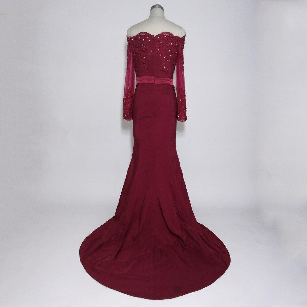 JIERUIZE bordeaux sirène robes de bal longue épaule manches longues robes de soirée formelle robes de soirée abendkleider - 2