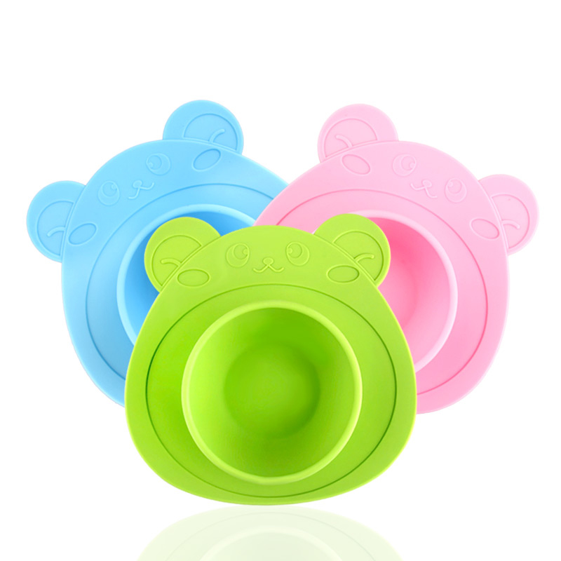 Baby Silicone Sucker Bowl Plates Non-slip Food Dish Feeding Dishes A Plate Of Children Kids