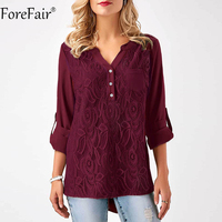 ForeFair S 3XL Women Plus Size Tops Back Chic Button Ruched Style Lace Chiffon Blouse Black