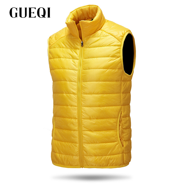 GUEQI Men Windproof Warm Vest Jackets Size S-L Add Fleece Stand Collar Winter Clothing 2017 Man White Casual Waistcoats