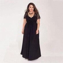 LOVEBATU Brand Black Plus Size Maxi Evening Dress with Lace Sleeve