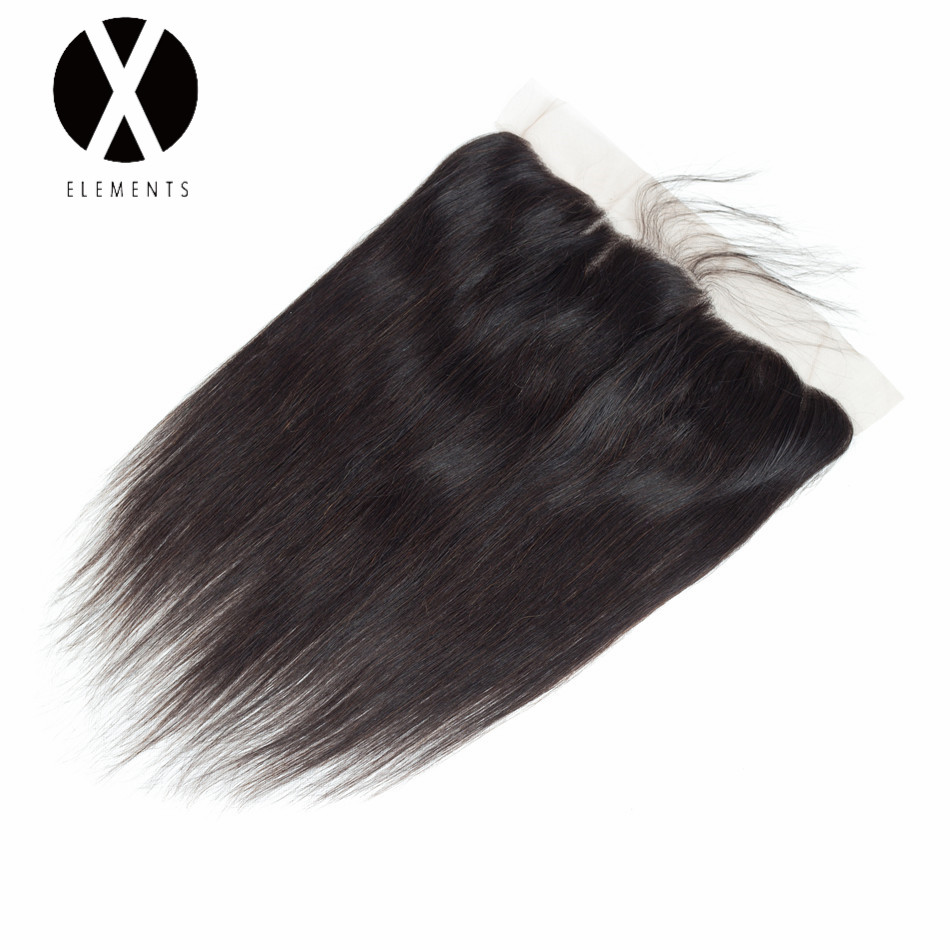 X-Elements Hair Straight 13 * 4 Lace Frontal With Baby Hair Human - Rambut manusia (untuk hitam)