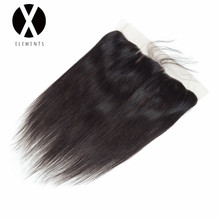 X-Elements Hair Straight 13 * 4 Spets Frontal With Baby Hair Mänsklig Non-Remy Brazilian Natural Color Frontal Weaves Hair Extensions