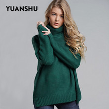 YUANSHU زائد حجم الخشنة بلوفرات 2019 جديد الياقة المدورة الصلبة البلوز الإناث المرأة الدافئة سميكة الشتاء محبوك المتضخم سترة