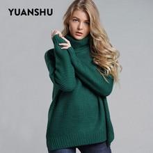 YUANSHU Plus Size Grosso Jumper Pullovers 2019 Nova Gola Sólida Feminino Das Mulheres Quentes De Inverno De Malha Grossa Camisola de Grandes Dimensões