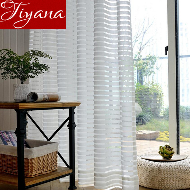 White Curtains Voile Horizontal Stripes Window Modern Living Room Balcony Tulle Kitchen Sheer Fabrics Cortinas