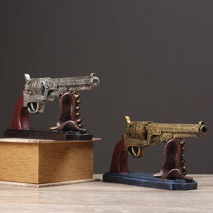 Image 2 - Creative Vintage Resin Gun Bullet Model Crafts Retro Pistol Model Handicraft Figurine Ornament Home Wine Cabinet Decor Desk Gift