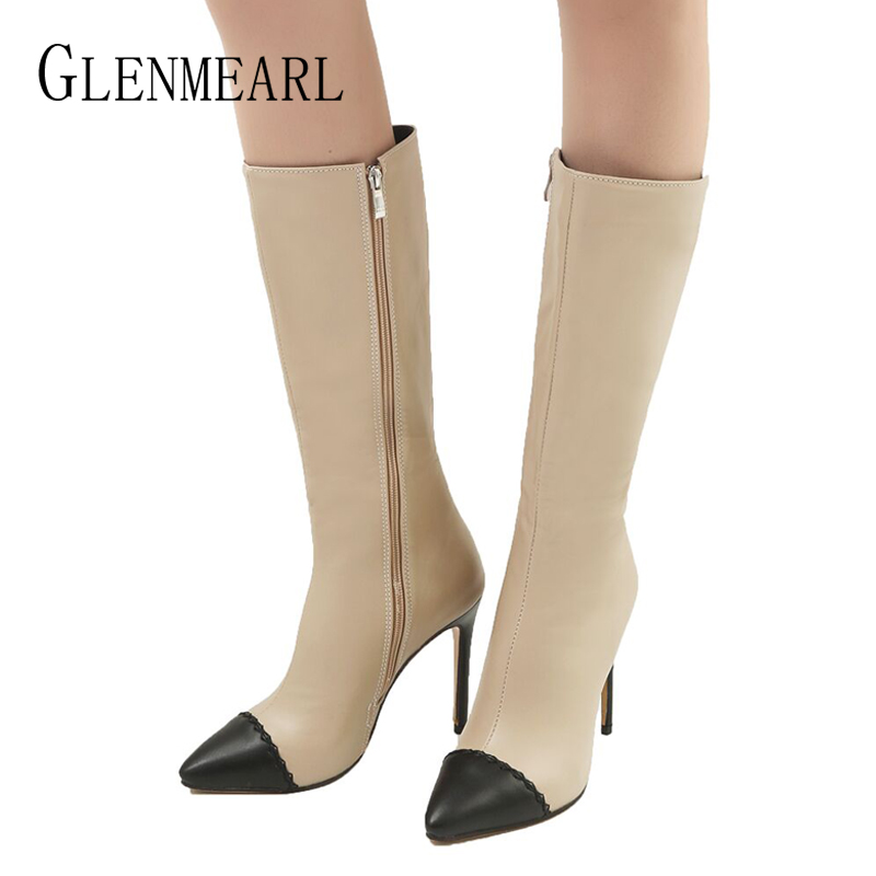 Winter Shoes Woman High Heels Mid Calf Boots Women Pointed Toe Dress Shoes Ladies Color Matching Zipper High Boots Female DE 2017 winter female high heeled shoes solid high quality women casual boots zipper women mid calf boots pointed toe martin boots