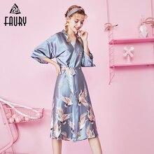 Sexy Ladies Satin Emulation Silk Print Long Night Dress Gown Sleepwear  Pajama Female Sleep Dress Robe 0d303e1de