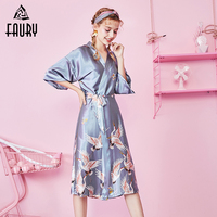 Sexy Ladies Satin Emulation Silk Print Long Night Dress Gown Sleepwear Pajama Female Sleep Dress Robe Lingerie Bridal Gown