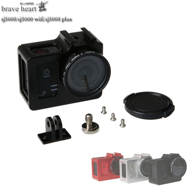 Prix pour Date SJCAM sj5000 Coque De Protection + UV filtre En Aluminium Alliage cage En Métal cadre pour SJCAM SJ5000 WIFI SJ 5000 SJ5000X