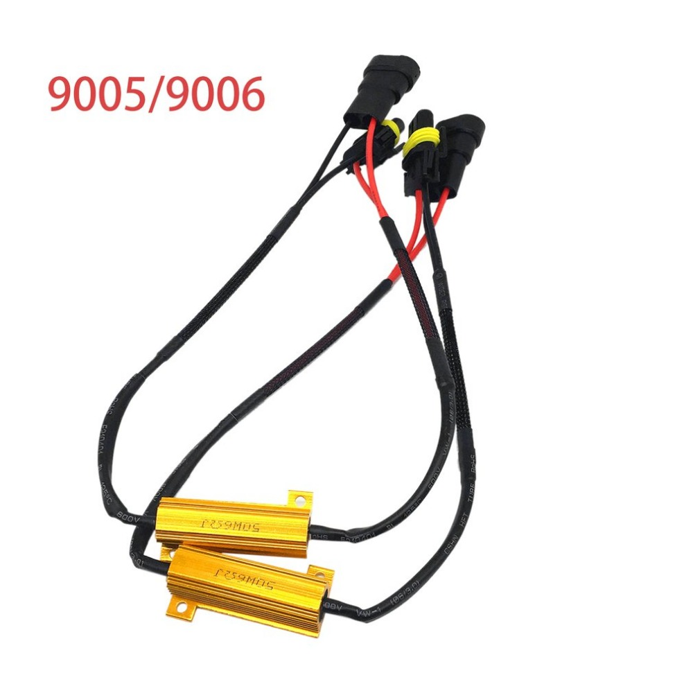 dc12v 50w wiring harness kit led decoder 9005 9006 fog light led load resistor car styling drop shipping [ 1000 x 1000 Pixel ]