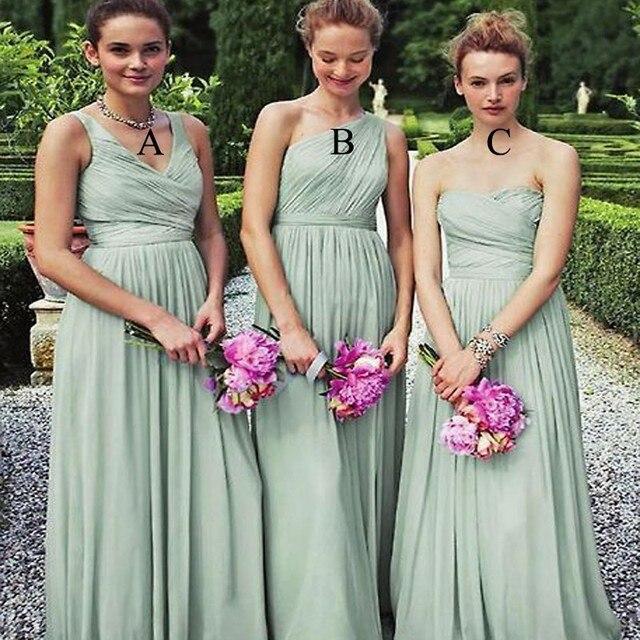 Y Sleeveless Floor Length Long Chiffon Sage Green Bridesmaid Dresses Vestido De Festa Casamento