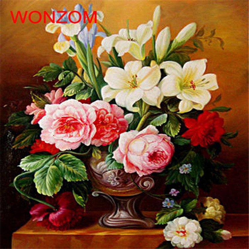 Blooming Flowers Oil Painting Lily Rose Vase Coloring By Numbers Digital Painting By Numbers On Canvas Unique Christmas Gift Hot image