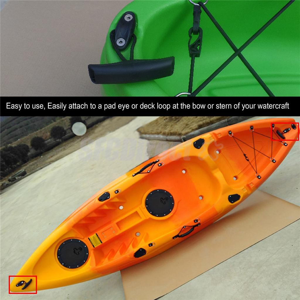 2Pcs Kayak Canoe Boat Side Mount Carry Handle with Bungee Cord Screws Cap K5G9