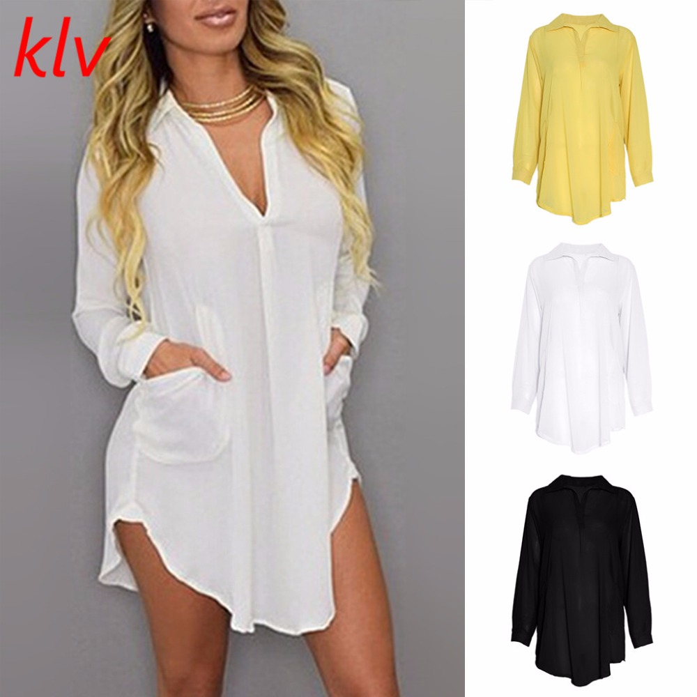 Fashion Style Thigh Length Solid Color One-piece Chiffon Shirt Tops Blouse