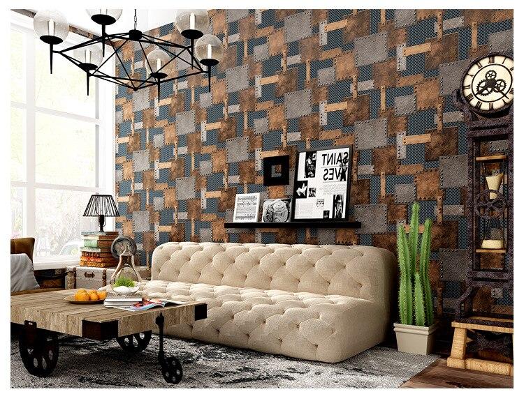 ФОТО junran European Vintage Iron Metal Wallpaper TAKEGISM Living Room Wall paper Roll PVC Wallpaper for Walls Waterproof Wallpaper
