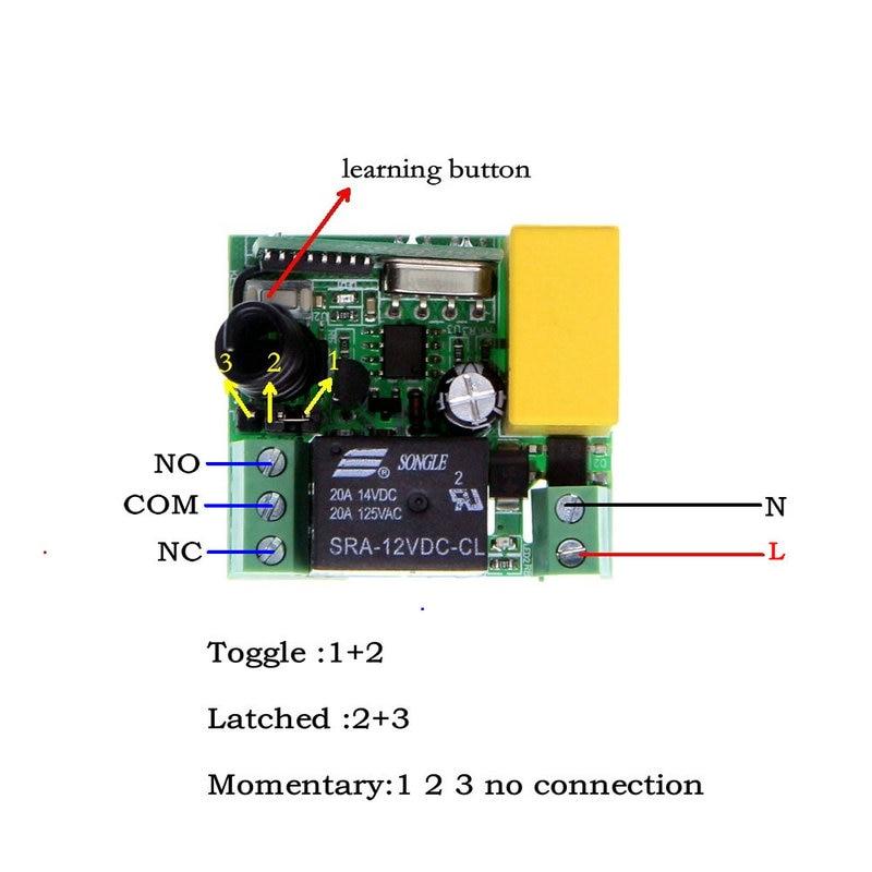 Mini AC 220 v 1CH 1 CH RF Wireless Fernbedienung Schalter Empfänger + Sender Licht Lampe LED Smart Home 10A Relais Latched