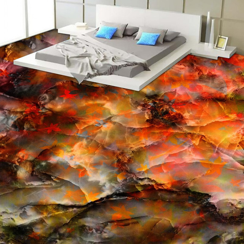 Free Shipping Waterproof Background Wall Self Adhesive Living Room Flooring Mural Maple Leaf Marble