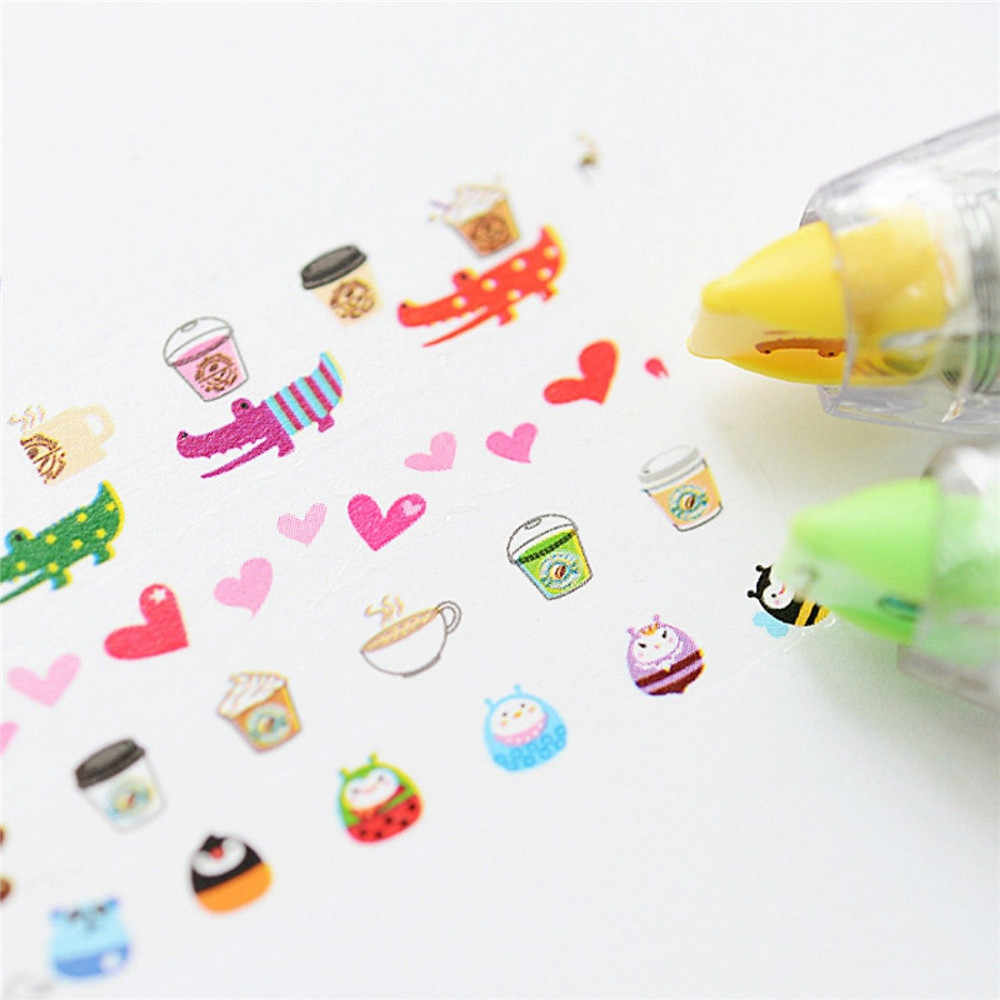1 Pcs Creative Leuke Cartoon Dier Cartoon Correctie Tape Stickers Kantoorbenodigdheden Druk Type Kawaii Tape Decoratieve Tape