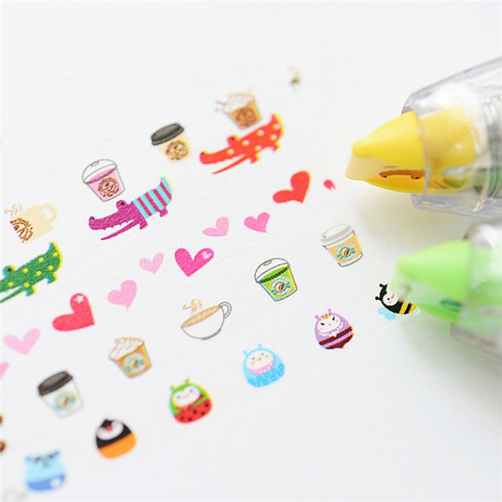 1PCS Creative Cute Animal Cartoon Cartoon Correction Tape Stickers Office Supplies Press Type Kawaii Tape Decorative Tape