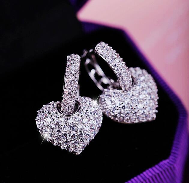 Rose White Gold Color Heart Design Small Size Top Guality Clic Cubic Zirconia Hoop Earrings